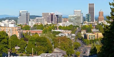 Skyline from Vista Bridge Eastbound, Portland, Multnomah County, Oregon, USA Photographic Print by Green Light Collection