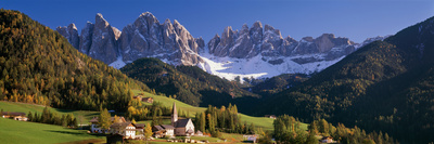 Trees and Farmhouses in a Field with Mountains in the Background, Santa Maddalena, Funes Valley Photographic Print by  Panoramic Images
