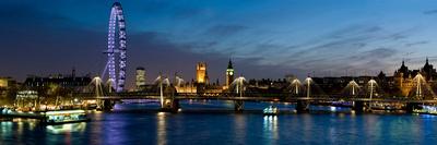 London Eye and Central London Skyline at Dusk, South Bank, Thames River, London, England Fotoprint av Panoramic Images,
