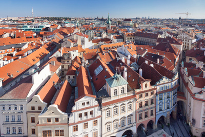 High Angle View of a Town, Old Town Hall, Prague Old Town Square, Prague, Czech Republic Photographic Print by Green Light Collection