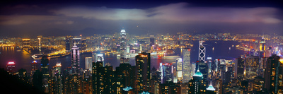 Aerial View of a City Lit Up at Night, Hong Kong, China Photographic Print by  Panoramic Images