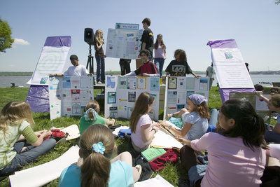 Students Discuss Earth Force Environmental Project on Earth Day, Alexandria, Virginia Photographic Print
