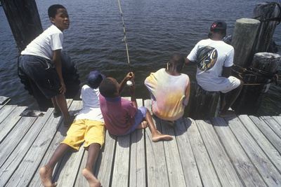 Group of African-American Children Fishing Off Dock, Ft. Myers, FL Photographic Print