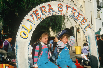 Two Children at Historic Olvera Street, the Birthplace of Los Angeles, CA Photographic Print