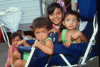 Mexican American Children in a Stroller, Los Angeles, CA Photographic Print