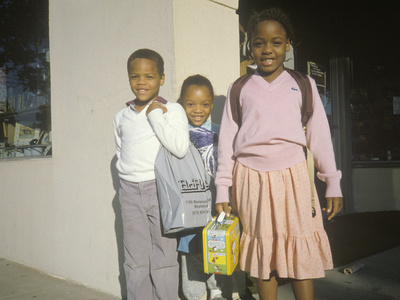 Three African-American Elementary Schoolchildren, Beverly Hills, CA Photographic Print
