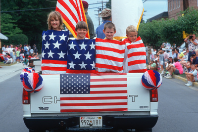 Children Wrapped in an American Flag for an Independence Day Parade, East Shore, MD Photographic Print