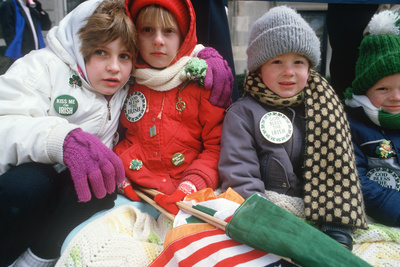 Children Dressed Warmly to Watch the 1987 St. Patrick's Day Parade, Ny City Photographic Print