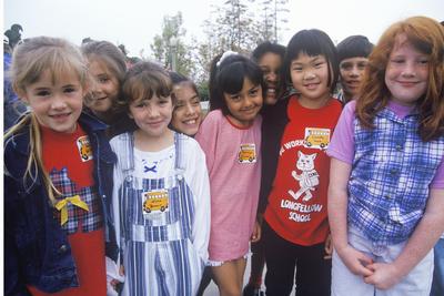 A Group of Ethnically Diverse Schoolgirls, Longfellow Elementary School, CA Photographic Print