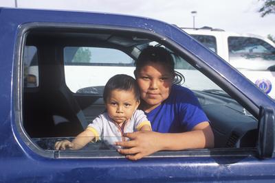 Navajo Teenage Girl and Baby Looking Out of Car Window, Kayenta, AZ Photographic Print