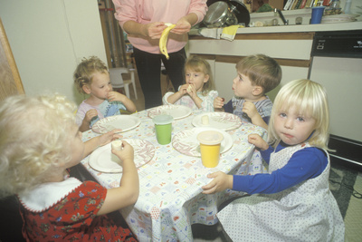 Preschool Children Eating Breakfast, Washington, D.C. Photographic Print