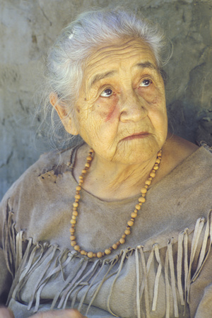 Close-Up of Elderly Native American Woman Wearing Necklace, Tasalagi, Cherokee Nation, Ok Photographic Print