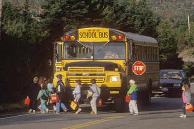 Schoolchildren Boarding a Schoolbus, Cape Breton, Novia Scotia Photographic Print