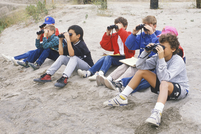 Students Birdwatching at Upper Bay Ecological Reserve, CA Photographic Print