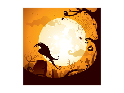 Halloween - Crow on the Graveyard Posters by  ori-artiste