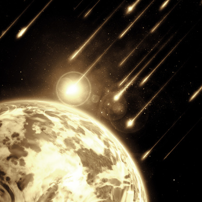 Earth in Space with a Flying Asteroids, Abstract Background Photographic Print by  molodec