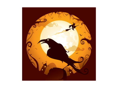 Halloween - Crow in Halloween Night Poster by  ori-artiste