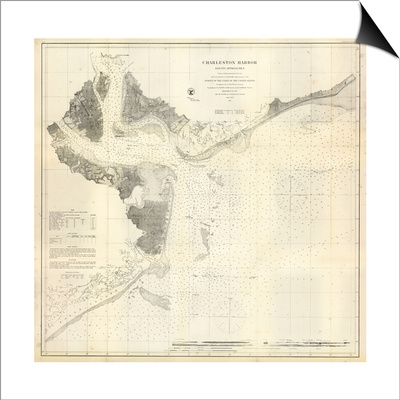 1866, Charleston Harbor Chart South Carolina, South Carolina, United States Poster