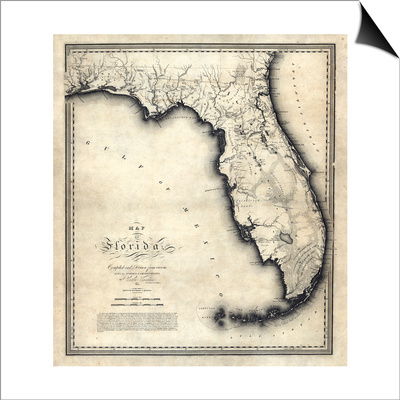 1823, Florida State Map, Florida, United States Posters