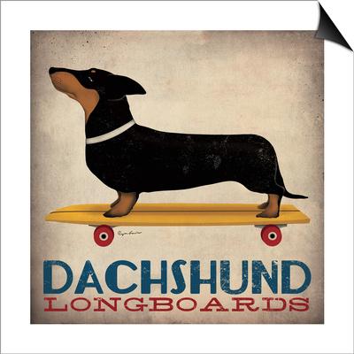 Dachshund Longboards Magnetic Art Baskı