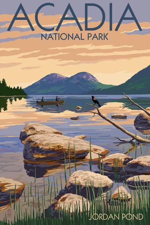 Acadia National Park, Maine - Jordan Pond Kunst von  Lantern Press