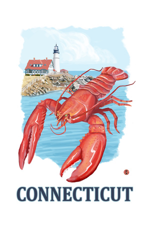 Connecticut - Lobster and Lighthouse Prints by  Lantern Press