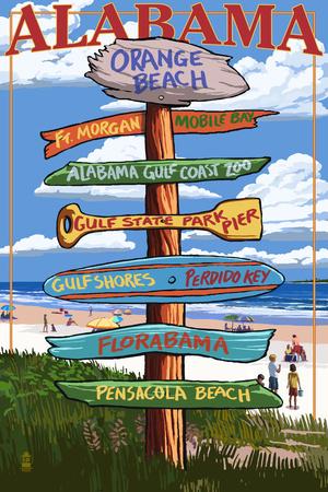 Orange Beach, Alabama - Sign Destinations Print by  Lantern Press