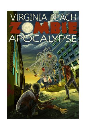 Virginia Beach, Virginia - Zombie Apocalypse Art by  Lantern Press!