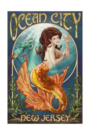 Ocean City, New Jersey - Mermaid Art by  Lantern Press