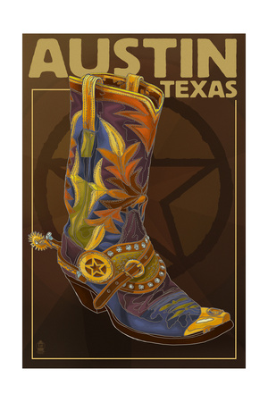 Austin, Texas - Boot and Star Posters by  Lantern Press