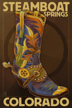 Steamboat Springs, Colorado - Boot Poster by  Lantern Press