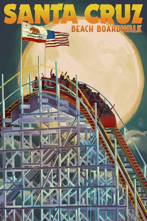 Santa Cruz, California - Big Dipper Coaster and Moon Posters by  Lantern Press
