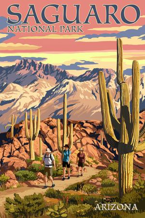 Saguaro National Park, Arizona - Hiking Scene Prints by  Lantern Press
