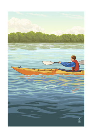 Kayak (Male Version) Posters by  Lantern Press