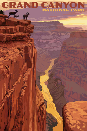 Grand Canyon National Park - Bighorn Sheep on Point Posters by  Lantern Press