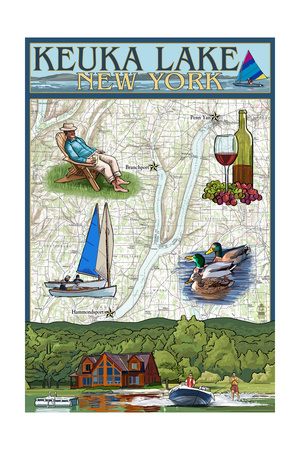 Keuka Lake, New York - Nautical Chart Posters by  Lantern Press