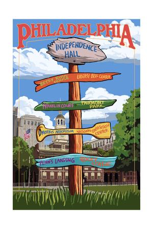 Philadelphia, Pennsylvania - Sign Destinations Prints by  Lantern Press