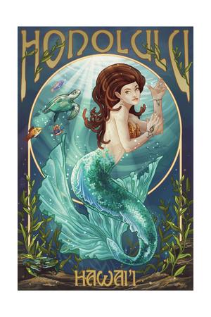 Mermaid – Honolulu, Hawaii Prints by  Lantern Press