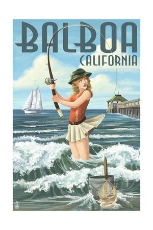 Balboa, California - Surf Fishing Pinup Girl Art by  Lantern Press