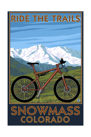 Snowmass, Colorado - Ride the Trails Art by  Lantern Press