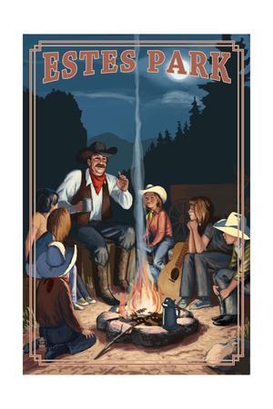 Estes Park, Colorado - Cowboy Campfire Story Telling Prints by  Lantern Press