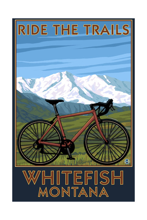 Whitefish, Montana - Ride the Trails Prints by  Lantern Press