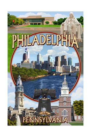 Philadelphia, Pennsylvania - Montage Posters by  Lantern Press