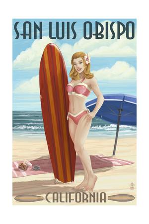 San Luis Obispo, California - Surfer Pinup Girl Art by  Lantern Press