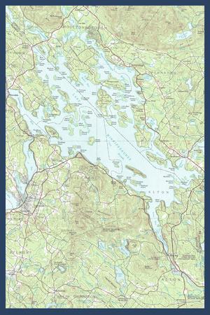 Lake Winnipesaukee, New Hampshire - Map Only Prints by  Lantern Press