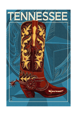 Tennessee - Boot Art by  Lantern Press