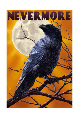 Nevermore - Raven and Moon Print by  Lantern Press