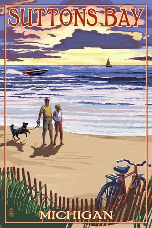 Suttons Bay, Michigan - Sunset on Beach Poster by  Lantern Press