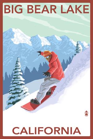 Big Bear Lake - California - Snowboarder Prints by  Lantern Press
