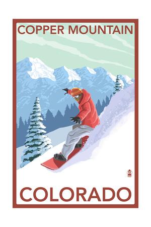 Copper Mountain, Colorado - Downhill Snowboarder Prints by  Lantern Press
